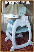 Стульчик для кормления, трансформер 2в1 (стульчик для кормления/столик+стульчик), Bambi M 3612-5 зеленый