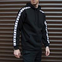 Худи мужское с лампасом Адидас (Adidas) черное сезонв весна лето