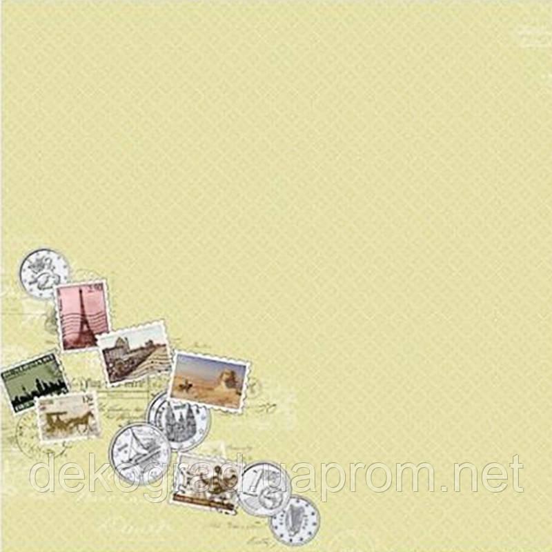 """Лист бумаги для скрапбукинга  """"Вокруг Света"""", Города и страны, 30х30см"""