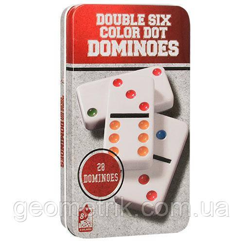 """Домино """"Double Six Color Dot"""" (в металлической коробке)(для компаний, развлекательная)"""