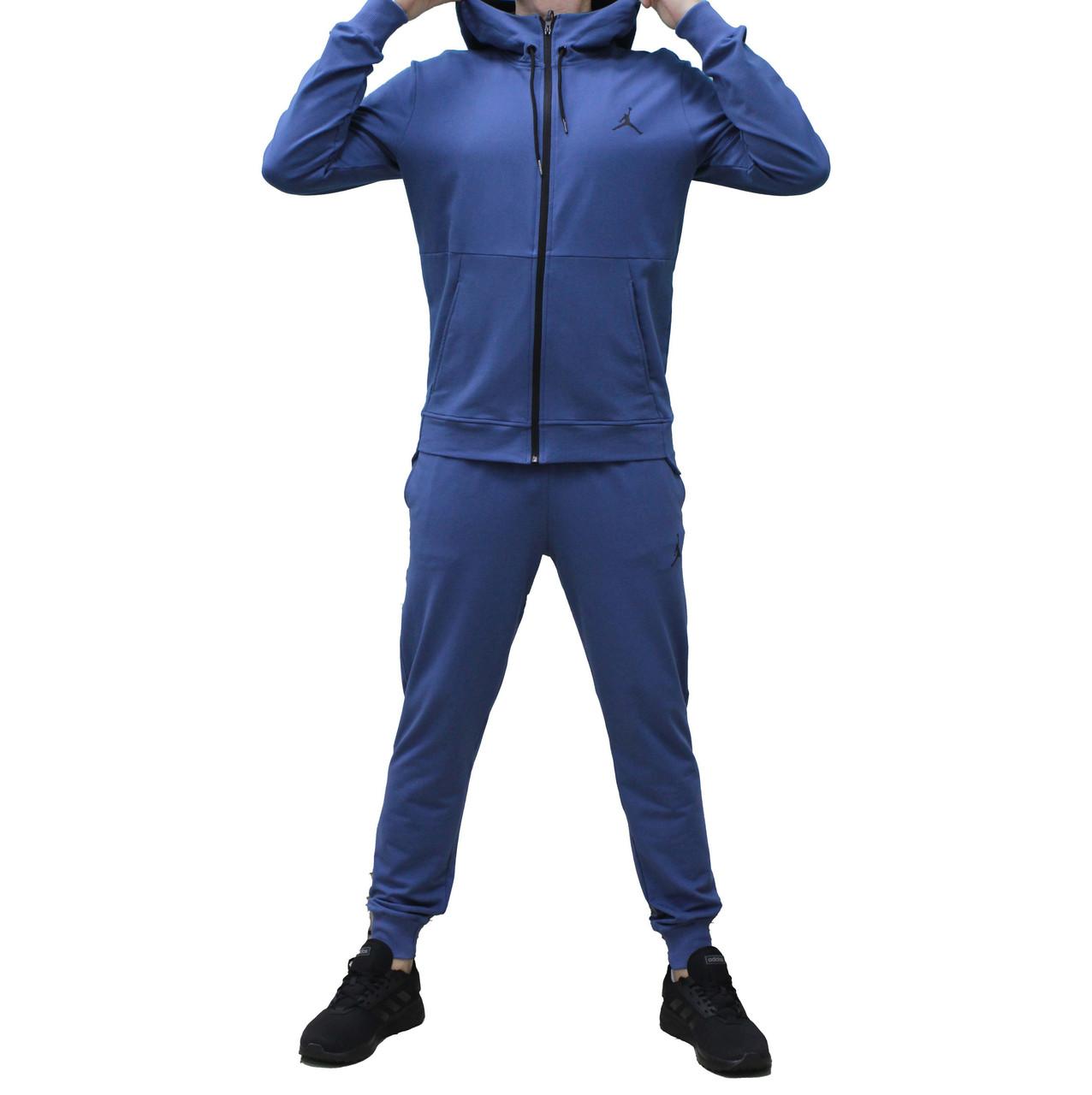 Яркий синий хлопковый тонкий трикотажный костюм Jordan  с капюшоном (Реплика)