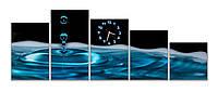 Красивые синие Часы картина модульная для декора дома Капля воды 30х47 30х57 30х50 30х40 30х30 см