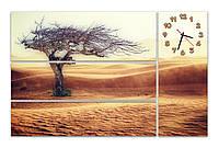 Большие часы картина на стену в гостинную модульные Одинокое дерево в пустыне 30х90 23х90 21х90 30х77 см