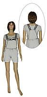 Комбинезон женский летний трикотажный с шортами 20023 Sally Leto двунитка Серый, фото 1