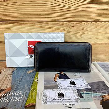 Жіночий шкіряний гаманець портмоне на блискавці чорний Prensiti