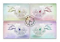 Оригинальные Часы картина модульная Красивые цветы в вазе 30х45 30х45 30х45 30х45 циферблат 20 см