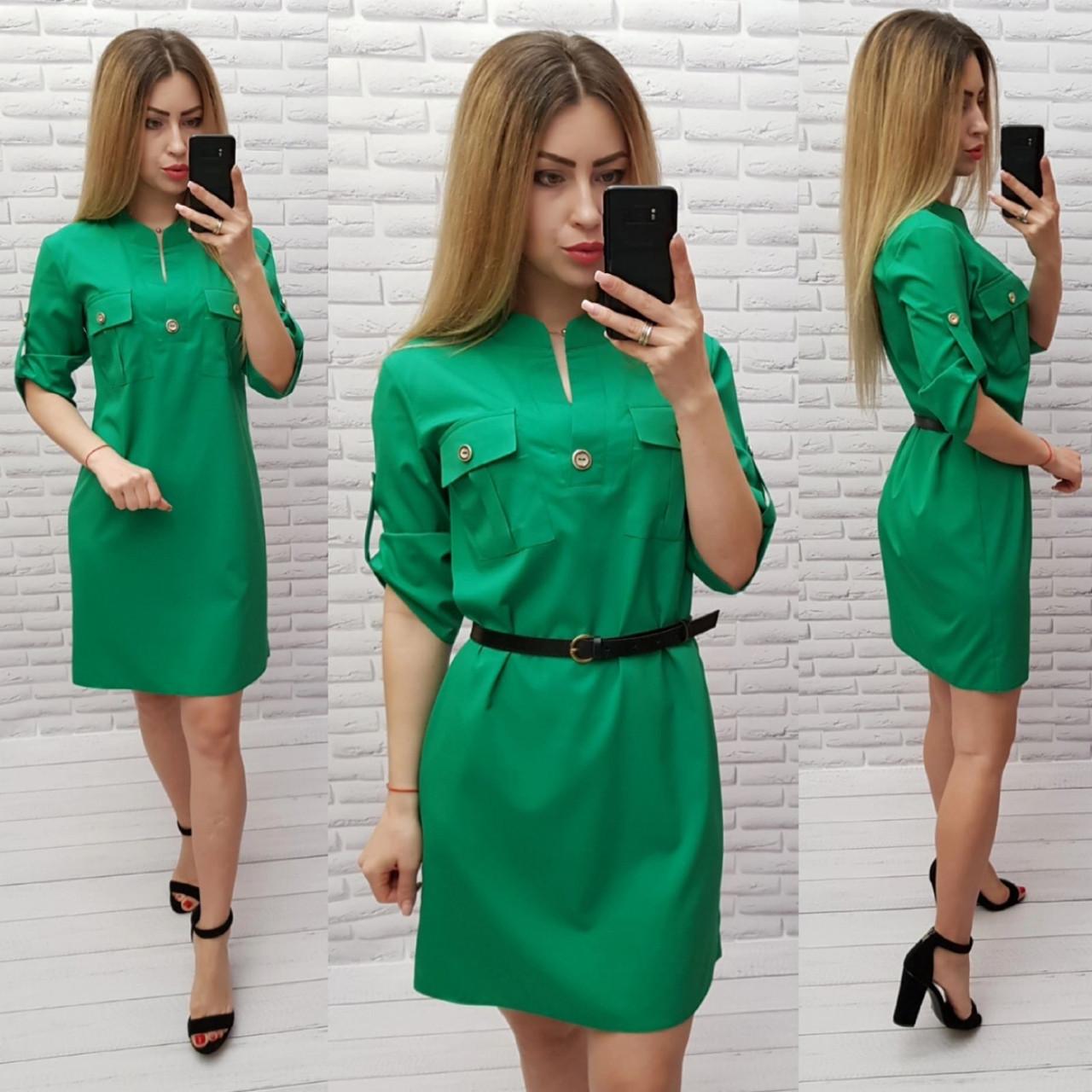 Платье женское, цвет:трава, с пояском