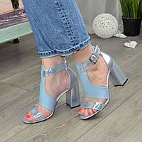 Стильные женские кожаные босоножки на высоком устойчивом каблуке, цвет голубой