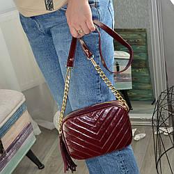Шкіряна жіноча сумка, колір марсала. Виробництво Україна