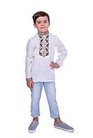 """Вишиванка біла на стійку для хлопчика з орнаментом """"Дубок"""" 152 см, фото 1"""