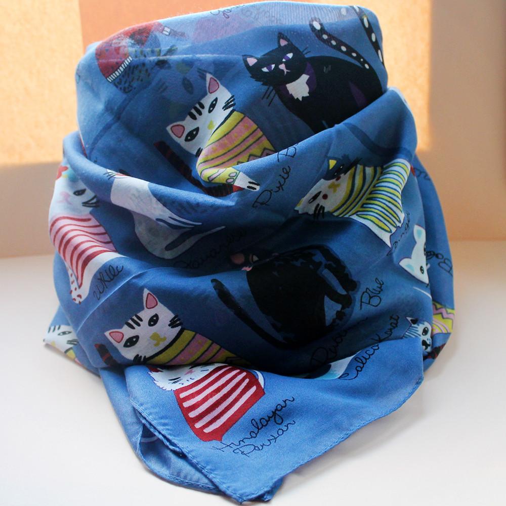 Женский стильный платок - синий пастельный