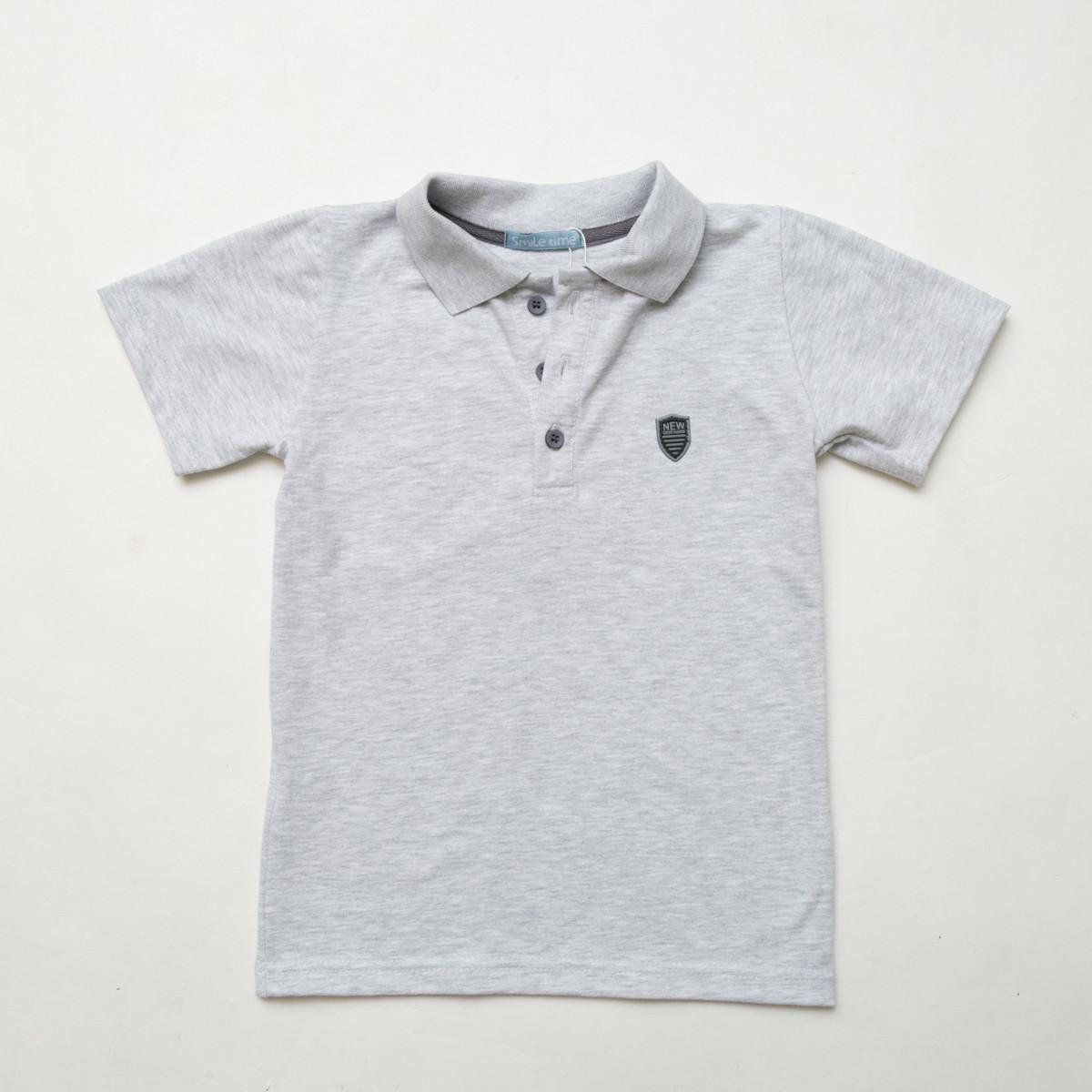 Тенниска для мальчика р.128,134,140 Classic SmileTme , светло-серый