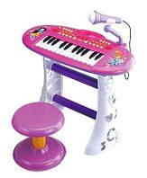 Детское пианино на ножках со стульчиком и микрофоном BB383BD