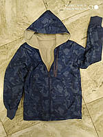 Двухсторонняя ветровка для мальчика темно синяя 140-146 см