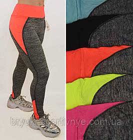 Жіночі спортивні на широкому трикотажному поясі від S до XL Легінси Ластівка з яскравими вставками