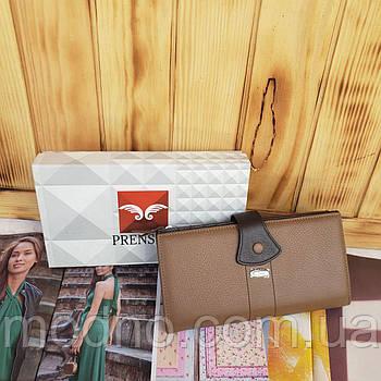Женский кожаный кошелёк на кнопке и змейке Prensiti