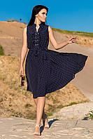 """Легке літнє жіноче плаття в горошок """"Алана"""", темно-синій"""