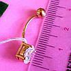 Золотой пирсинг в пупок с цирконием - Золотая серьга для пирсинга пупка - Пирсинг в пупок золото, фото 5