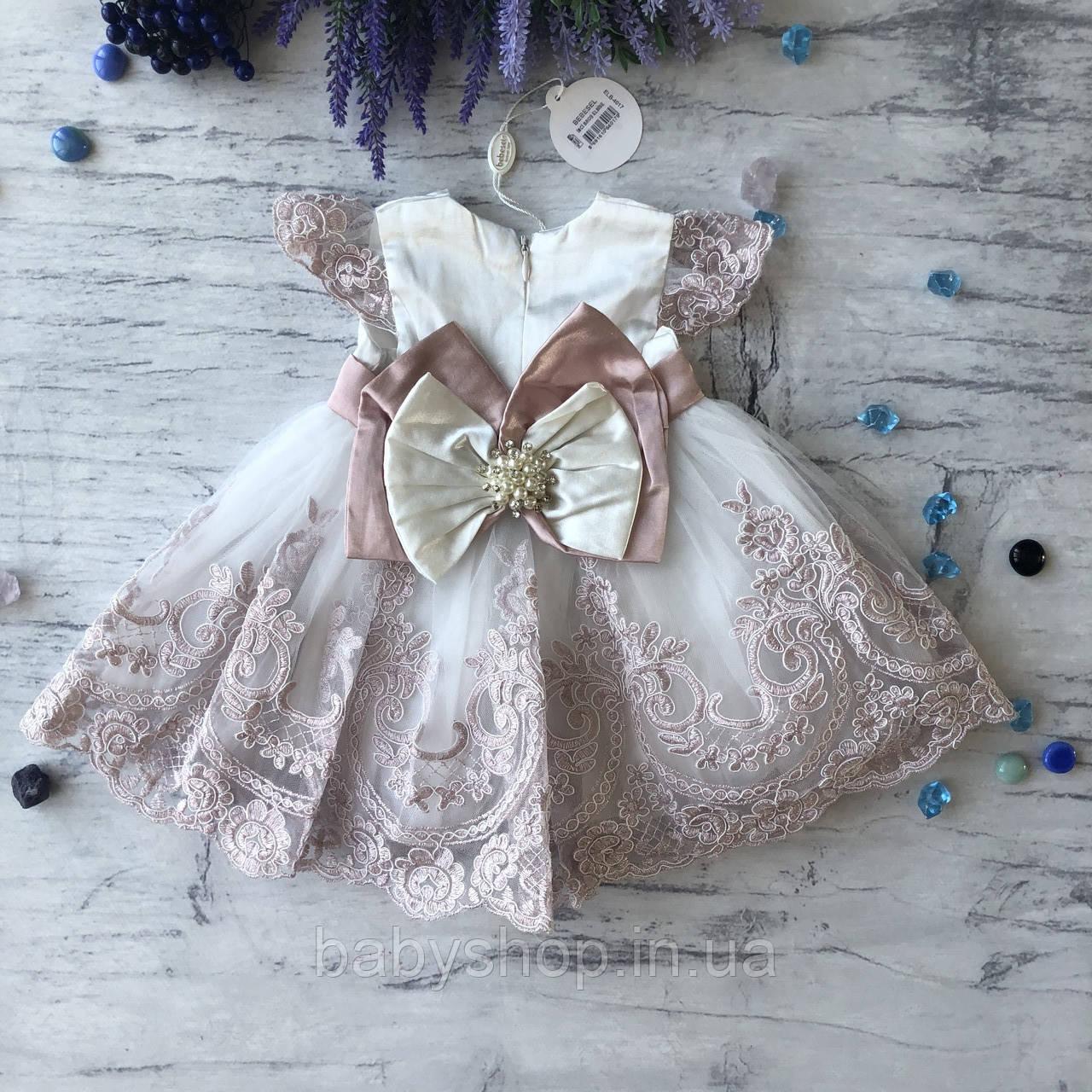 Нарядное белое платье с бантом на девочку на девочку 9. Размеры 3 мес