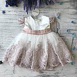 Нарядное белое платье с бантом на девочку на девочку 9. Размеры 3 мес, фото 2