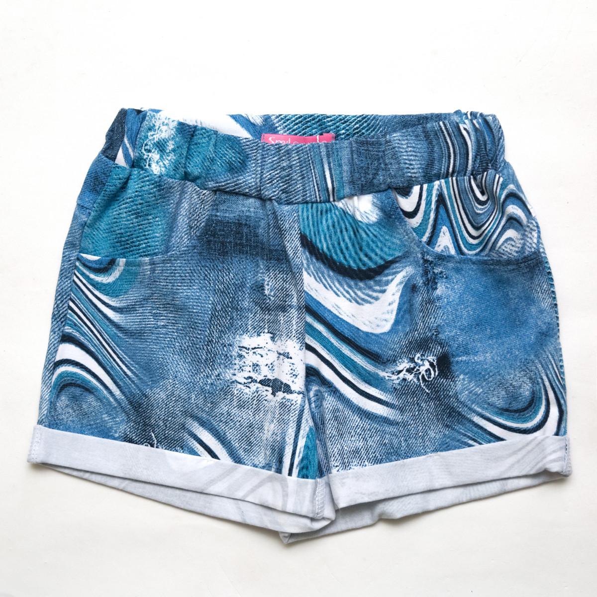 Шорты трикотажные р.128 для девочки SmileTime Blue Jeans, джинс