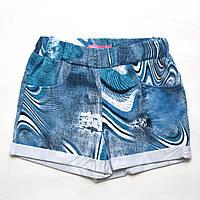 Шорты трикотажные р.128 для девочки SmileTime Blue Jeans, джинс, фото 1
