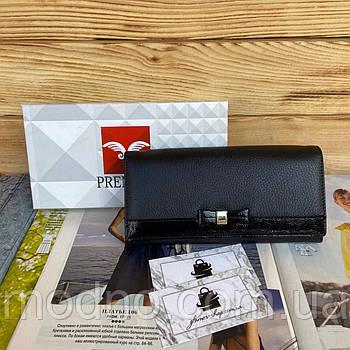 Женский кожаный кошелёк портмоне на кнопке с бантиком чёрный Prensiti