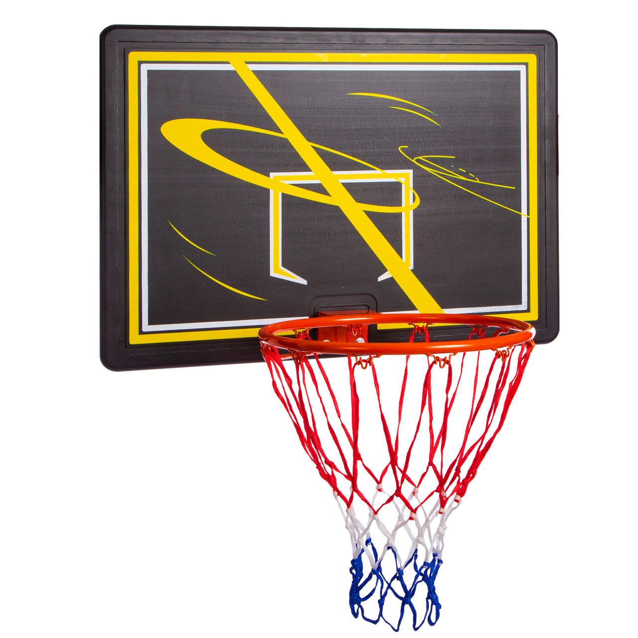 Щит баскетбольный с кольцом и сеткой S009F (щит-HDPE,р-р 80x58см, кольцо (16мм) d-38см, сетка NY)