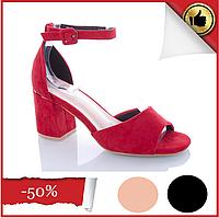 Женские красные босоножки на каблуке Еко-Замша открытый носок с закрытой пяткой