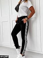 Женский стильный спортивный летний костюм с брюками С, М +большие размеры