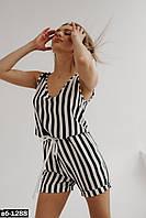 Женский стильный льняной комбинезон с шортами в полоску Разные цвета С, М +большие размеры, фото 1