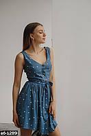 Женский льняной сарафан с горошек Разные цвета С, М +большие размеры, фото 1