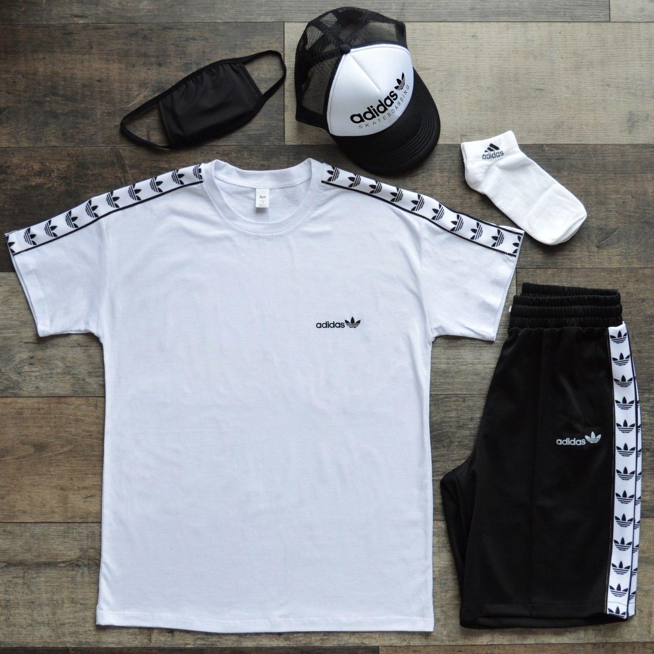 Летний комплект Адидас белая футболка мужская + чёрные шорты+маска для лица+тракер+носки  S, M, L, XL