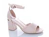 Женские бежевые босоножки на каблуке Еко-Кожа открытый носок с закрытой пяткой, фото 5