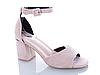 Женские бежевые босоножки на каблуке Еко-Кожа открытый носок с закрытой пяткой, фото 7