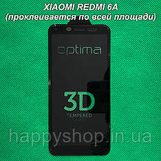 Защитное 3D стекло для Xiaomi Redmi 6A (Черное) проклеивается по всей площади