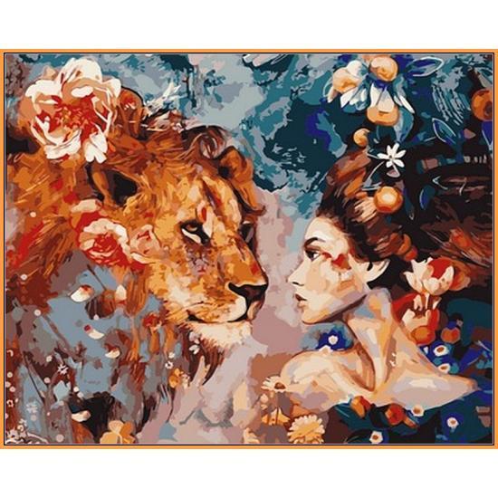 Картина по номерам Её лев, 40x50 см Babylon Premium