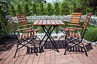 Комплект мебели для террасы Изольда стол + 4 стула с подлокотниками Тик