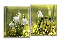 Зеленая картина часы настенные модульные для декора спальни Подснежник весенний 30х37 30х37 см
