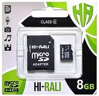 Карта памяти Hi-Rali microSDHC 8GB Class 4 + SD-адаптер (HI-8GBSDCL4-01)