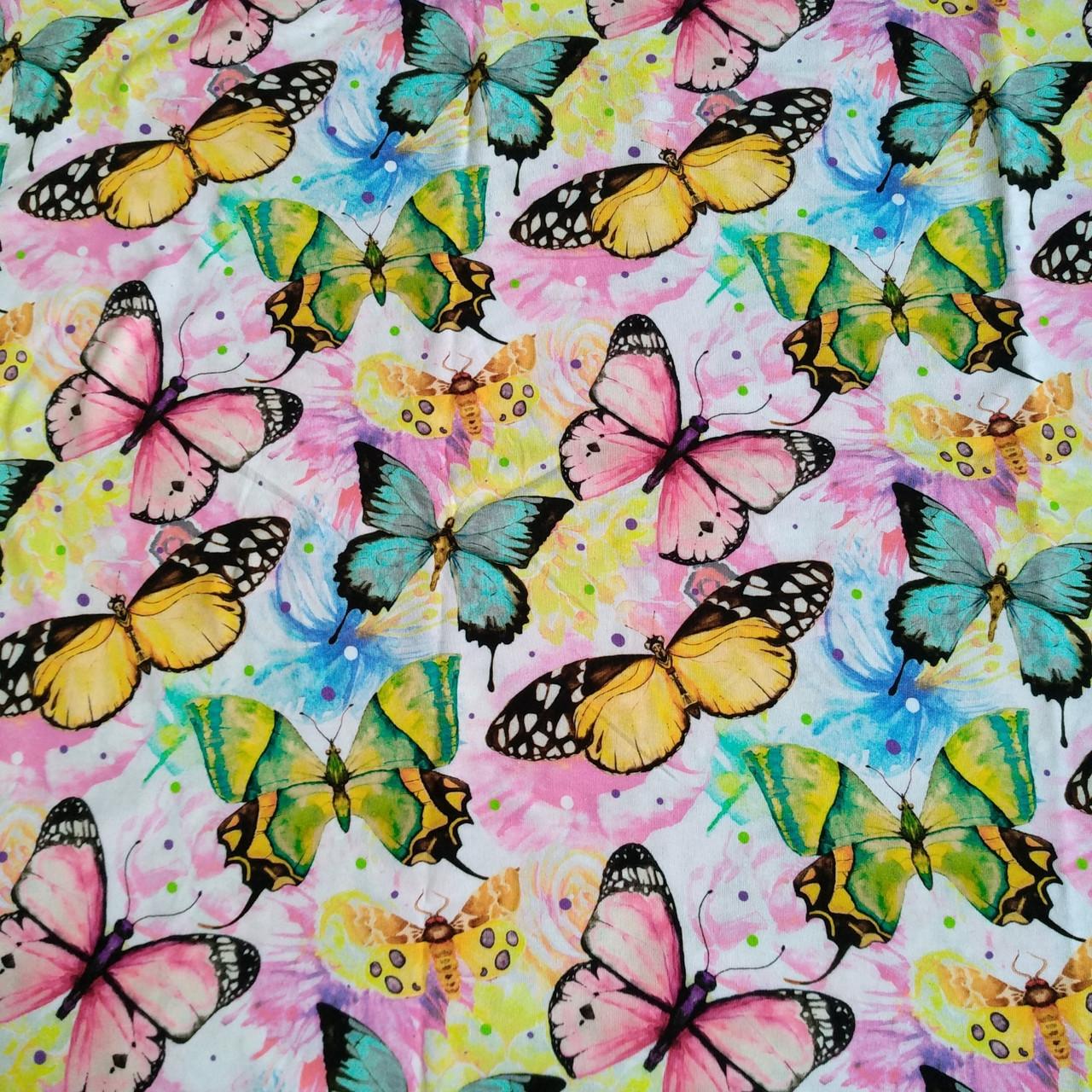 Стрейч-кулир Цветные бабочки - 185см. (диджитал)