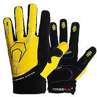 Велоперчатки PowerPlay 6556 летние длинный палец желто-черные Размер L