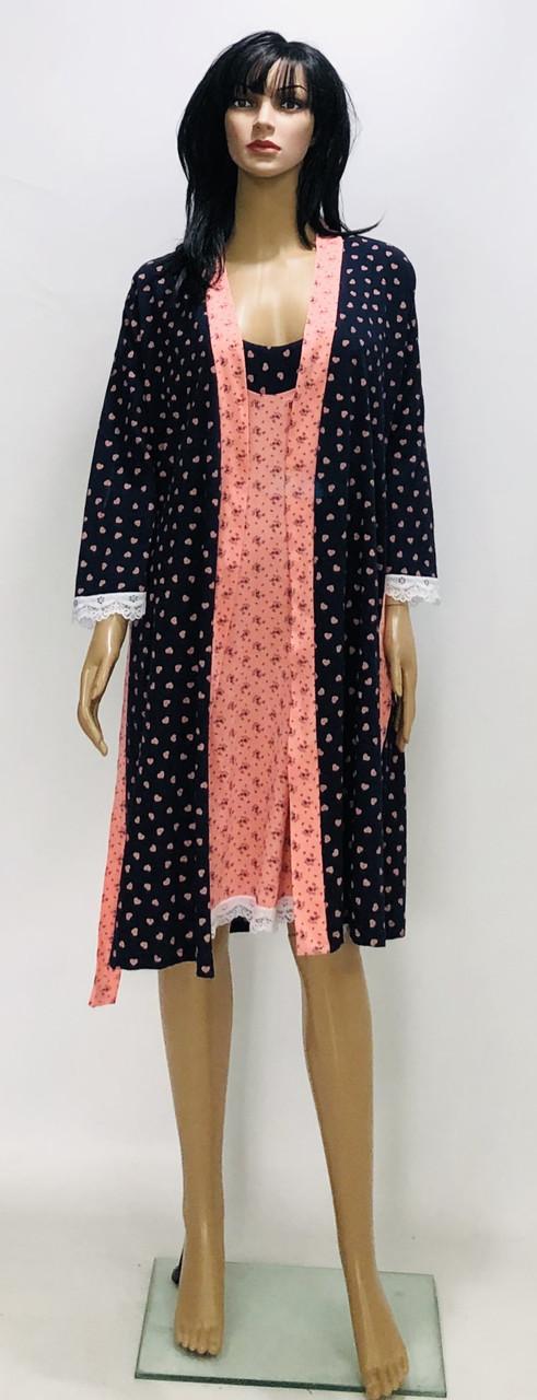 Трикотажный комплект халат и ночная рубашка