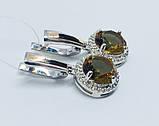 Серебряные серьги с золотом и камнем султанит Ассанта, фото 2