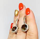 Серебряные серьги с золотом и камнем султанит Ассанта, фото 4