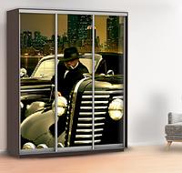 Виниловая наклейка на шкаф машины (обои для шкафа купе мафия) 240 х 100 см с защитной ламинацией