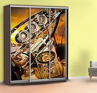 Виниловая наклейка на шкаф мотоцикл (пленка на шкаф купе закат) 240 х 100 см с защитной ламинацией