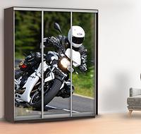 Наклейка для двери мотоцикл (наклейка для шкафа купе байк) 240 х 100 см с защитной ламинацией
