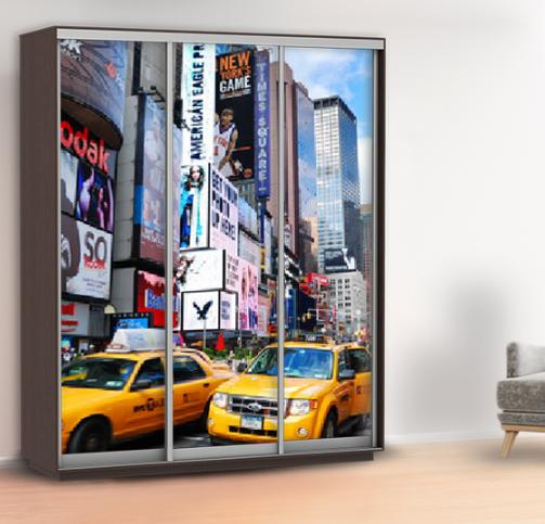 Наклейка на двери шкафа нью йорк (самоклейка для шкафа такси) 240 х 100 см с защитной ламинацией