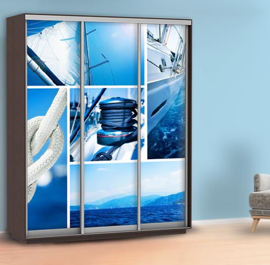 Наклейка для шкафа купе яхта (виниловая самоклейка яхта) 240 х 100 см с защитной ламинацией